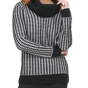 4/$30 Calvin Klein Black &White  Cowlneck Sweater